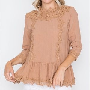 Boho Crochet Trim 3/4 Sleeves Mocha Top